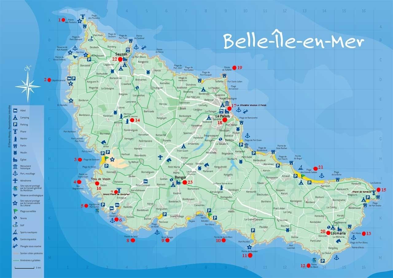 Carte Détaillée De Belle Ile En Mer | tonaartsenfotografie